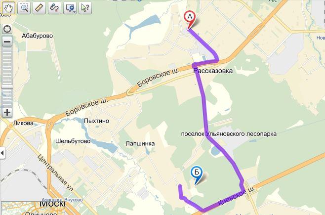 схема проезда от Переделкино Ближнее в парк Angry Birds